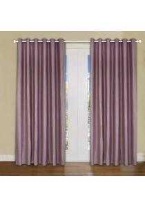 Set of 2-Piece Essina Ziva 1-Layer Blackout  Eyelet Curtain - Brown
