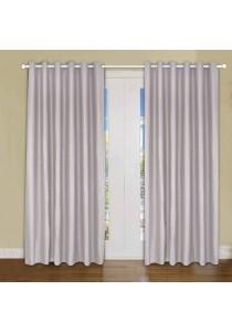 Set of 2-Piece Essina Ziva 1-Layer Blackout  Eyelet Curtain - Grey