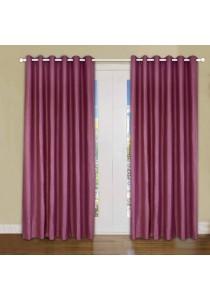 Set of 2-Piece Essina Ziva 1-Layer Blackout  Eyelet Curtain -Maroon