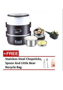 3 Layer Multifunctional Electric Stainless Steel Lunch Box + Free Gift