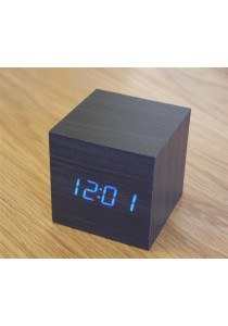 AirGear Mini Wooden Cube LED Alarm Clock with Temperature and Sounds