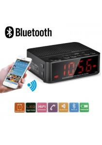 Wireless Desktop Bluetooth Time LED Display Alarm Clock With Stereo Speaker FM Radio (Black)