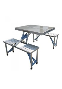 FASHION TEE Aluminium Folding Portable Picnic Table with Chair (Silver)