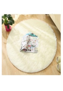 Fluffy Fur Anti Skid Round Shaggy Floor Rug - Carpet White 120 [D]