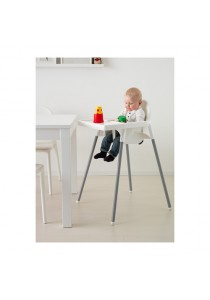 Baby High Chair with Adjustable Safety Belt & Tray - White