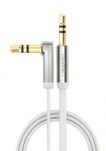 UGREEN 3.5mm To 3.5mm Male Right Angle Flat Cable Gold Plated Audio 1-Meter - 10757 (White)