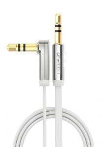 UGREEN 3.5mm To 3.5mm Male Right Angle Flat Cable Gold Plated Audio 2-Meter - 10759 (White)
