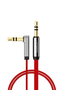 UGREEN 3.5mm To 3.5mm Male Right Angle Flat Cable Gold Plated Audio 1-Meter - 10798 (Red)