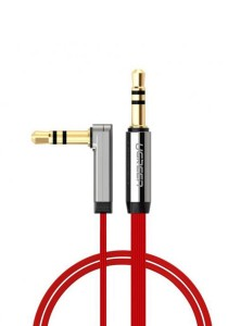 UGREEN 3.5mm To 3.5mm Male Right Angle Flat Cable Gold Plated Audio 3-Meter - 20702 (Red)