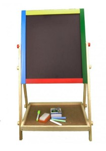 Arche Children Wooden 2-In-1 Double Sided Adjustable Blackboard and Whiteboard with Drawing Easel