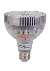 PAR30 35W E27 LED Bulb Warm White 6000k Built-In Fan with 24 Degree Beam Angles