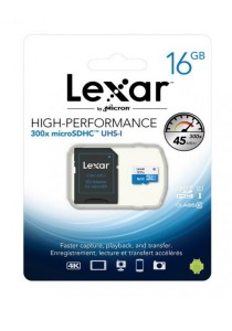 Lexar 16GB 300x 45MB/s High-Performance microSDHC UHS-I Memory Card with Adapter