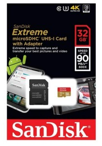 SanDisk Extreme 32GB 90MB/s U3 C10 microSDHC UHS-I Memory Card for Action Camera