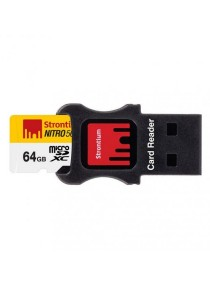 Strontium Nitro 64GB 85MB/s UHS-I (U1) microSDHC/XC 3-in-1 Mobility Kit (USB Card Reader + micro SD Adapter)