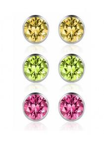 Arche Swarovski 925 Silver Stud Earrings 3 Pairs Set (Yellow, Green & Pink)