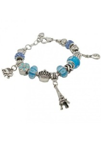 Arche Crystal Paris Eiffel Tower Charm Bracelet Pandora Inspired European Style (Blue)