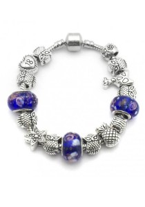 Arche Abstract Charm Bracelet Pandora Inspired European Style (Blue)