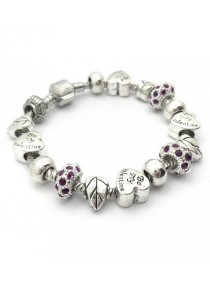 Arche Be My Valentine Crystal Charm European Style Bracelet (Purple)