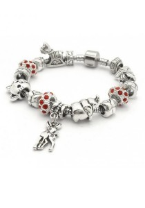 Arche Fiery Crystal Charm Bracelet Pandora Inspired European Style (Red)