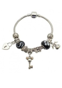 Arche Key To My Heart Charm European Style Inspired Bracelet (Black)