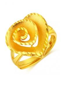 Arche Swirl Love Carved Adjustable Fashion Designer Gold Ring (Gold)