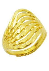 Arche Layer Wave Carved Adjustable Fashion Designer Gold Ring (Gold)