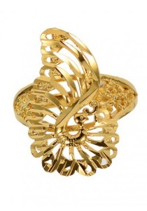 Arche Pride of the Peacock Carved Adjustable Fashion Designer Gold Ring (Gold)
