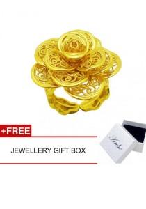 Arche Flower of Fairyland Golden Rose Carved Adjustable Fashion Designer Gold Ring (Gold)