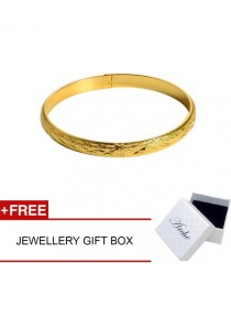 Arche Diamond Cut High Polished Gold Bangle Bracelet (Gold)