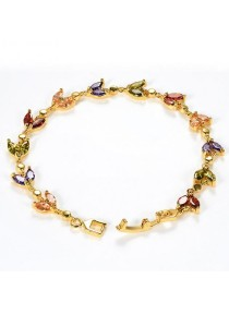 Arche Love Petal Gemstone High Polished Gold Bangle Bracelet (Gold)