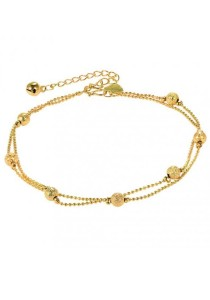 Arche Round Beads Station Gold Chain Anklet (Gold)