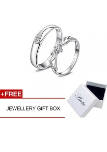 Arche Angels Wings Adjustable Couple Love Ring His & Hers Wedding Band (White)