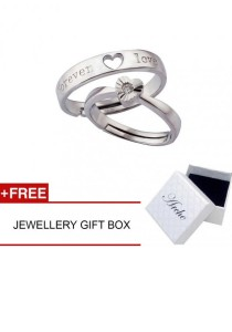 Arche Forever Love Engraved Adjustable Couple Ring His & Hers Wedding Band (White)