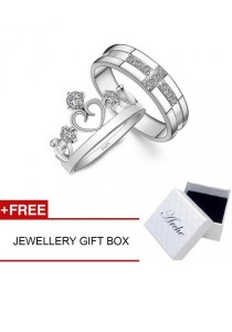 Arche Dream Come True Royal Crown Adjustable Couple Ring His & Hers Wedding Band (White)