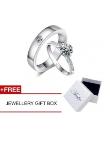 Arche Love of My Life Classical Adjustable Couple Ring His & Hers Wedding Band (White)
