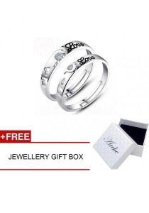Arche Unforgettable Love Engraved Adjustable Couple Ring His & Hers Wedding Band (White)