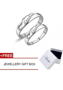 Arche Everlasting Devotion Love Engraved Adjustable Couple Ring His & Hers Wedding Band (White)