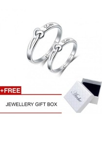 Arche Just Be Mine Love in Knot Adjustable Couple Ring His & Hers Wedding Band (White)