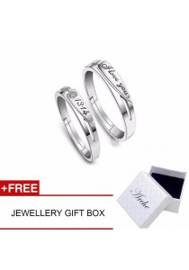Arche Unconditional Love I Love You Engraved Adjustable Couple Ring His & Hers Wedding Band (White)