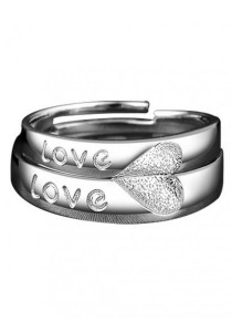 Arche Be My Love Engraved Adjustable Couple Ring His & Hers Wedding Band (White)