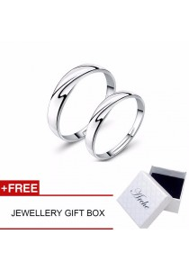 Arche Classical Timeless Love Adjustable Couple Ring His & Hers Wedding Band (White)