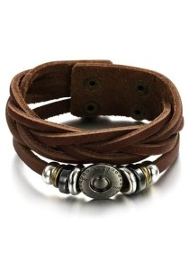 Arche Authentic Weaved Genuine Cow Leather Bracelet (Brown)