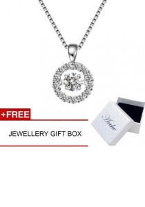 Arche Dancing with the Stars Dancing Pendant White Gold Plated 925 Silver Short Necklace (White)
