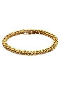 Arche 18K Gold Plated Noble Twisted Link Bangles (Gold)