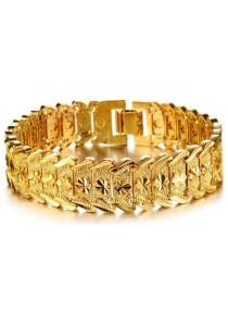 Arche Noble Link Noble Engraved Link Bracelet 18K Yellow Gold Plated Bangle (Gold)