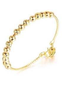 Arche 18K Gold Plated Bead Station Bangle (Gold)