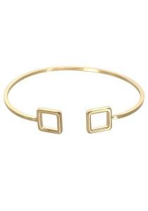 Arche 18K Gold Plated Square Cuff Bangle (Gold)