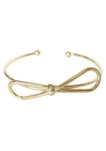 Arche 18K Gold Plated Ribbon Cuff Bangle (Gold)