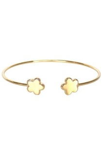 Arche 18K Gold Plated Lucky Flower Cuff Bangle (Gold)