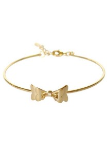 Arche 18K Gold Plated Butterfly Bow Cuff Bangle (Gold)
